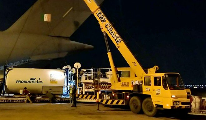 पांच दिन में 25 उड़ानें 300 टन कोविड राहत सामग्री लेकर दिल्ली हवाई अड्डे पहुंची