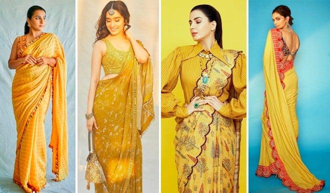 पार्टी में दिखना है सबसे खास तो बॉलीवुड सुंदरियों की तरह पहनें येलो साड़ी